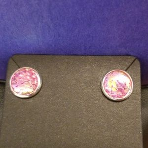 Iridescent Mermaid Scales Stud Earrings